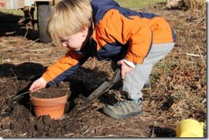 Zach digging